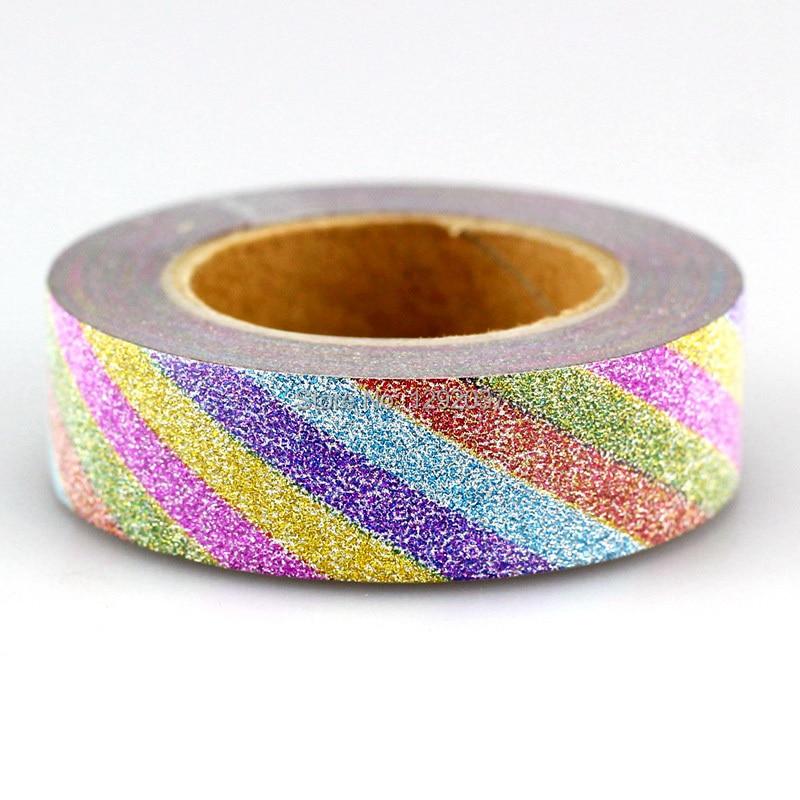1PC 15mm*10m Unicorn Rainbow Stripes Glitter Tape Decor Washi Tape Paper Scrapbooking Adhesive Tapes For Photo Album Stationery