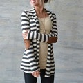 2017 Spring Autumn Women Jacket Casual Cotton Blend Striped Thin Coat Cardigan Ladies Casual Loose Outerwear Plus Size S-5XL