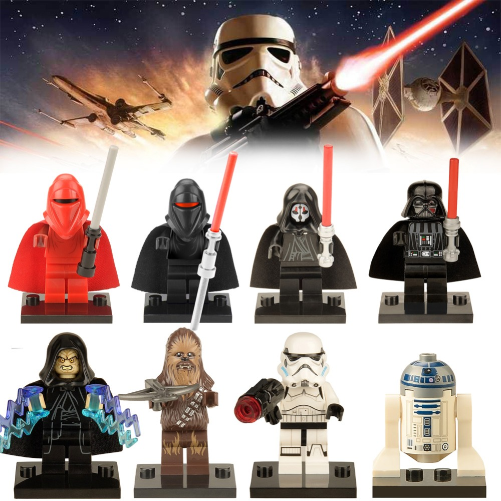 LEGOing Action Star Wars Figures Master Yoda Chewbacca Clone soldier Han solo Leia Starwars Building Blocks Toys For Children