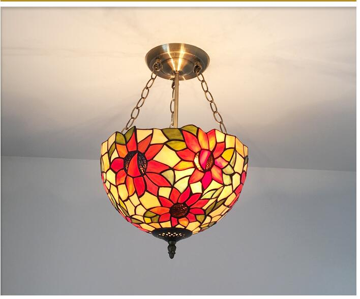 Tiffany Colorful glass pendant lamps entrance bedroom balcony garden aisle warm creative D30CM Pendant Lights lighting ZA tiffany the restaurant in front of the hotel pendant lights cafe bar small aisle entrance hall creative pendant lamps za df71