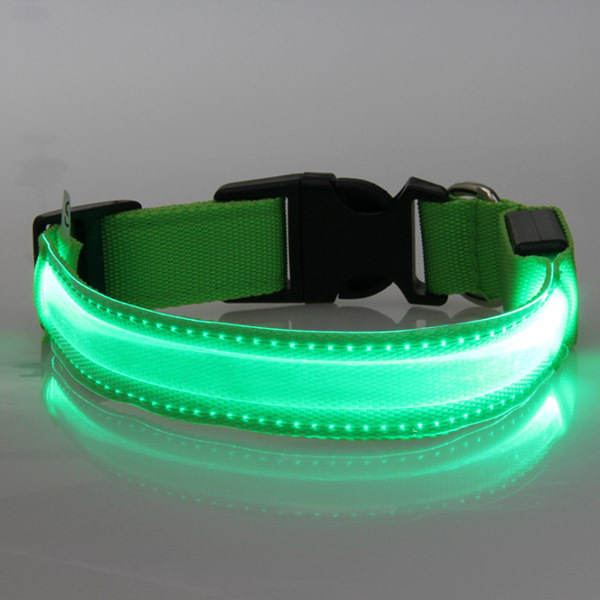 Hot Sales Pets Safety LED Collars Transparent Nylon Collar Light Up LED Flashing S M L XL