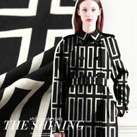 Maze Black And White Fashion Cotton Fabric For Geometry Thickening Clothes Outerwear