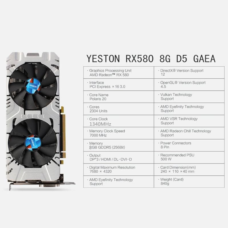 Yeston Radeon RX 580 GPU 8GB GDDR5 256 bit Gaming Desktop computer PC Video Graphics Cards support DVI/ HDMI PCI-E X16 3.0 1