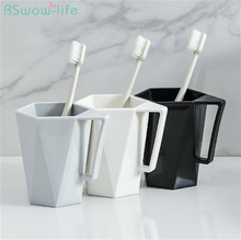 2Pcs Couple Toothbrush Cup Home Wash Creative With Handle Portable Travel Mug Plastic Water For Bathroom Supplies