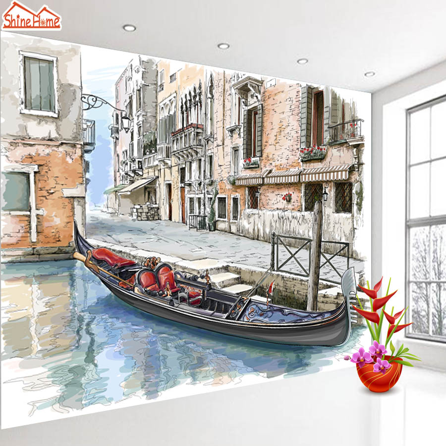 ShineHome-Venice Water City Boat Painting Wallpaper Wall Art 3d Murals for Walls 3 d Wallpapers for Livingroom 3 d Mural Roll aluminum water cool flange fits 26 29cc qj zenoah rcmk cy gas engine for rc boat