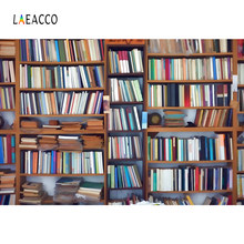Laeacco Bookshelf Library Wood Study Students Child Portrait Photo Backgrounds Customized Photography Backdrops For Photo Studio(China)