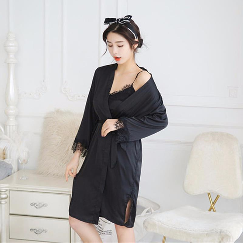 510565362d New Spring Autumn Elegant Womens Silk Solid Lace Satin Sleep Suit Pajama  Sets Sleepwear Women Lounge Pyjama UK 2019 From Meicloth