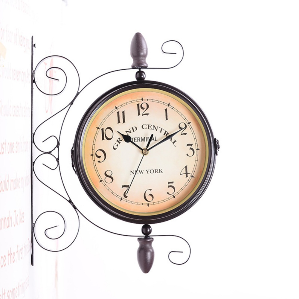 Double-Side Wall Mount Clock with Mute Movement Home Office Hotel Decoration Gift -40Double-Side Wall Mount Clock with Mute Movement Home Office Hotel Decoration Gift -40