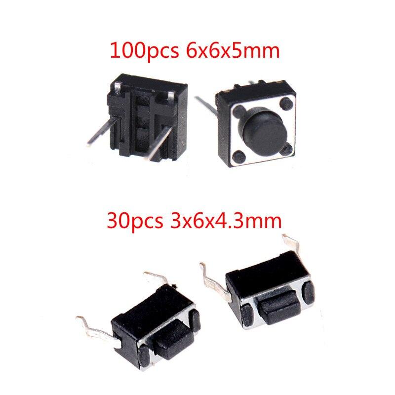 30/100 pçs/lote Mini Micro Momentary Tátil Botão Switch 2 Pin ON/OFF Botão Chaves DIP 6x6x 5mm/3x6x4.3mm