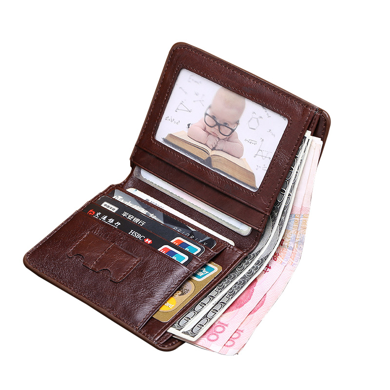 Genuine Leather Men Wallet Korean Casual Short Male Purse High Quality Top Layer Cow Leather Dollar Wallet Credit Card Case cowherd genuine cow leather men wallet super quality top cowskin handmade coin purse men short small wallet card purse male