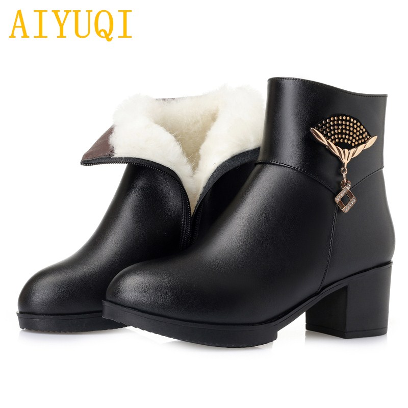 AIYUQI womens casual winter boots 2019 new genuine leather ladies ankle boots,Large size 35-43 warm wool snow for women
