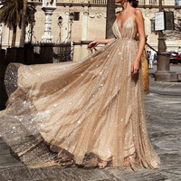 U SWEAR 2019 Sexy V Neck Sleeveless Spaghetti Straps Evening Dresses Party Prom Formal Gowns Long Sequin Vestido Robe De Soiree