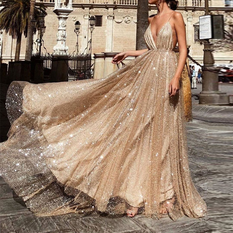 U-SWEAR 2019 Sexy V-Neck Sleeveless Spaghetti Straps   Evening     Dresses   Party Prom Formal Gowns Long Sequin Vestido Robe De Soiree