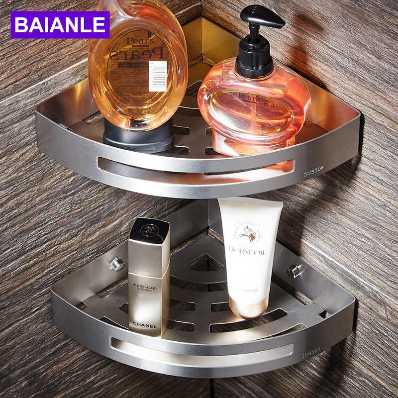 BAIANLE Bathroom Shelves Brushed Nickel Stainless Steel  Wall Mount triangle Shower Caddy Rack Bath Accessories