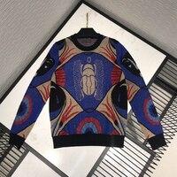 2019 высокое качество Подиум дизайн шерсть кашемир винтаж вязаный свитер женский люрекс вышивка Жук Повседневный осенний пуловер Джемпер