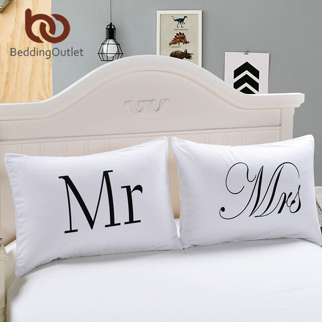 Beddingoutlet Mr And Mrs Pillow Cases Couple Pillowcases His And