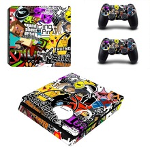 Amine Graffiti  PS4 Slim Skin Sticker Decal For Sony PS4 PlayStation 4 Slim Console and 2 Controllers PS4 Slim Stickers Vinyl