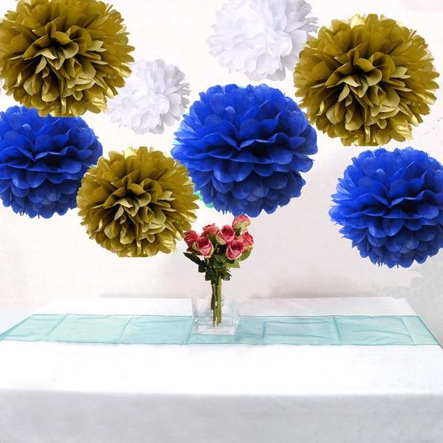 18pcs Mixed Royal Blue Gold White Diy Tissue Paper Flower Pompoms