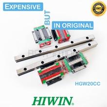 HIWIN guía lineal HGR20 de Taiwán, 300mm, 400, 500, 600, 700, 800, 900, 1000, 1100, 1200, 1300, 1400, carril, bloque de carro HGW20CC