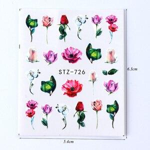 Image 5 - 24 folhas adesivos de unhas água decalque florescendo daisy flor oceano padrão slider 3d arte do prego transferência de água adesivo TRSTZ707 730