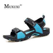 Мужские сандалии тапочки натуральная кожа коровьей мужской Летняя обувь повседневная Уличная замша пляж любовника сандалии