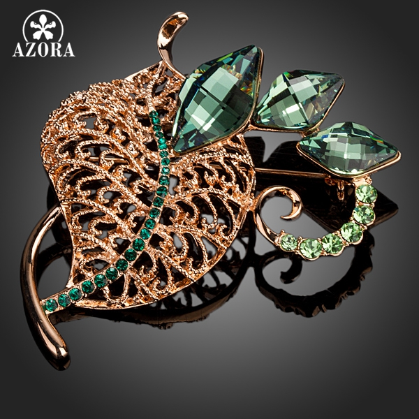 AZORA 2015 Lastest Design Rose Gold Color With Green Stellux Austrian Crystal Leaves Pin Brooch TP0028