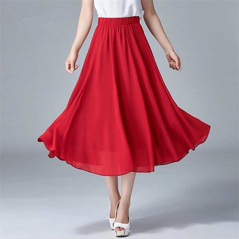 2020 Chiffon Skirts Women High Elastic Waist Pleated Long Summer Skirt Casual Solid Vestidos Plus Size 5XL 6XL 7XL New Skirts