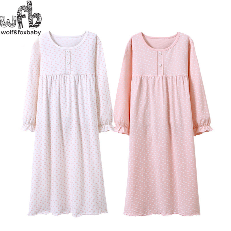Retail 3-14 years long-sleeves cotton children's home wear nightdress girl baby pajamas autumn fall Spring Print image