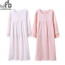 Retail 3-14 years long-sleeves cotton children's home wear nightdress girl baby pajamas autumn fall Spring Print