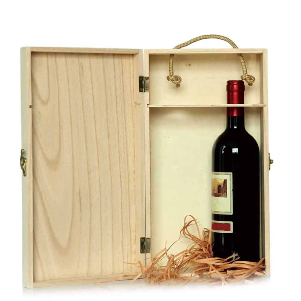 Accommodating Double Bottles Wine Wooden Box Wine Gift Box Wooden High End Wine Whiskey Storage Box