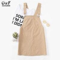 Dotfashion Detachable Strap Gingham Pinafore Dress 2017 Yellow Square Neck Plaid Dress Sleeveless Mini Dress