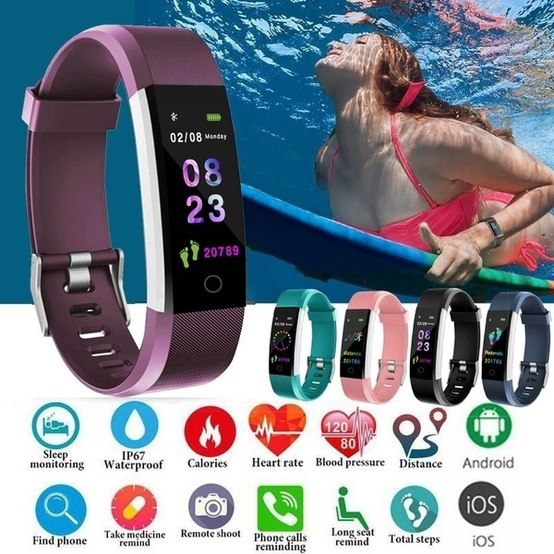Moda Pulseira de Relógio Inteligente Tela Colorida IP67 Waterproof Heart Rate Monitor de Fitness Rastreador Atividade Pedômetro Relógio Inteligente