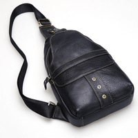 Genuine Leather Casual Shoulder Bag Cowhide Chest Pack Large Fashion Rivet Style Men Mobile Bag Men