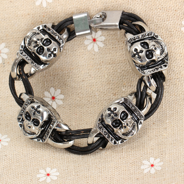 Punk Style Men Charm Bracelet Silver Color Skeleton Handmade Leather Strap Rock Pulseiras Masculinas