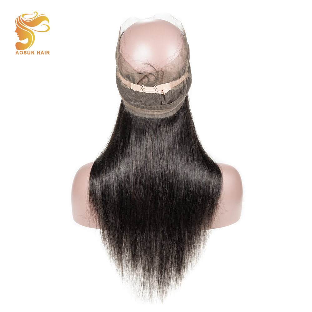 AOSUN HAIR Brazilian Straight Hair 100 Remy Human Hair 360 Lace Frontal Closure with Baby Hair