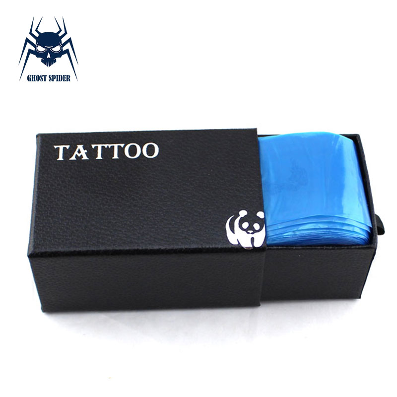 GHOST SPIDER 100pcs Disposable Blue Tattoo Clip Cord Sleeves Bags Covers Bags For Tattoo Machine Accessories