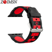 ZLIMSN Fashion Double Color Sport Replacement Bracelet Soft Silicone Watchband For Apple Watch 38mm 42mm Strap iwatch1 2 3 4