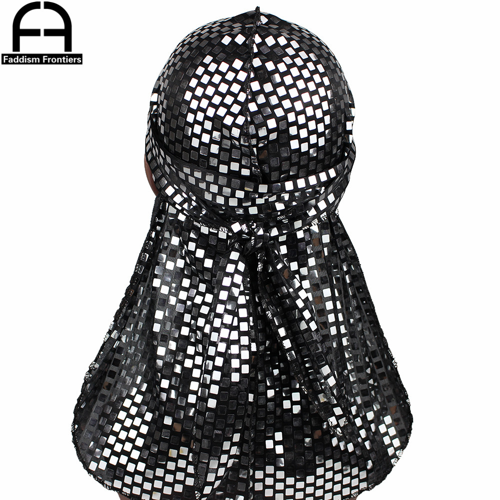 Men Sequins Silk Durag Shiny Bandanas for Turban Headwear Hat Long Straps Headband Waves Durags