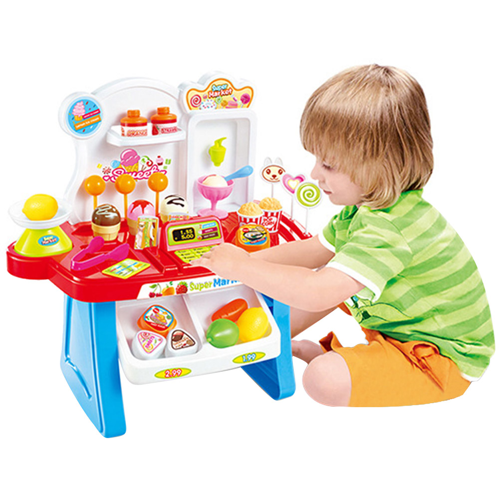 34 Pcs Kids Plastic Supermarket Cash Register Toy Miniature Pretend Play House Toys Shopping Brinquedo Cashier Desk POS Toy Set Karachi