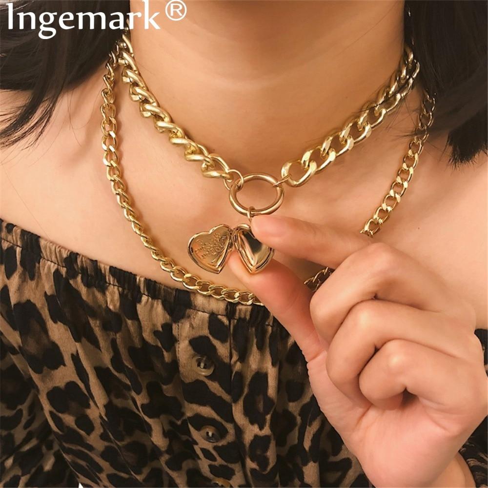Pingemark punk miami cubana gargantilha colar grosso corrente europeia & américa ouro prata dois coração pingente colar feminino jóias