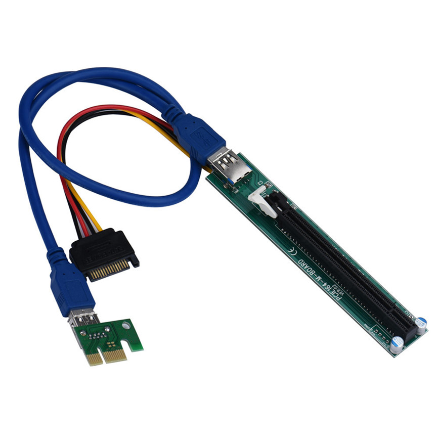 все цены на PCI-E Express 1X To 16X Extender Riser Adapter Card With Molex 60CM USB Cable jun22 онлайн