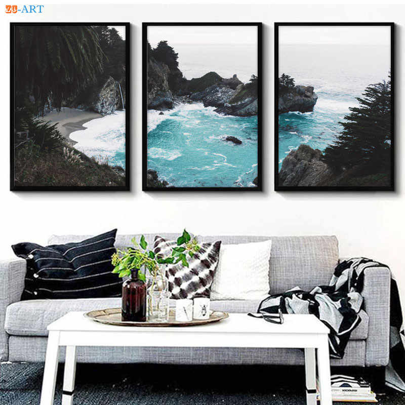 Coastal Print Beach Wall Art Ocean Poster Modern Canvas Painting Triptych Wall Art Pictures Nordic Decoration Home