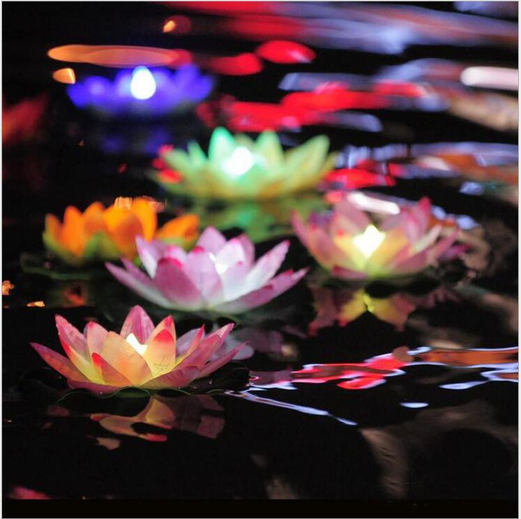 100 шт. светодиодный искусственный цветок лотоса Красочные изменилось водный Цветок плавательный бассейн Желая свет лампы Фонарики вечерни...