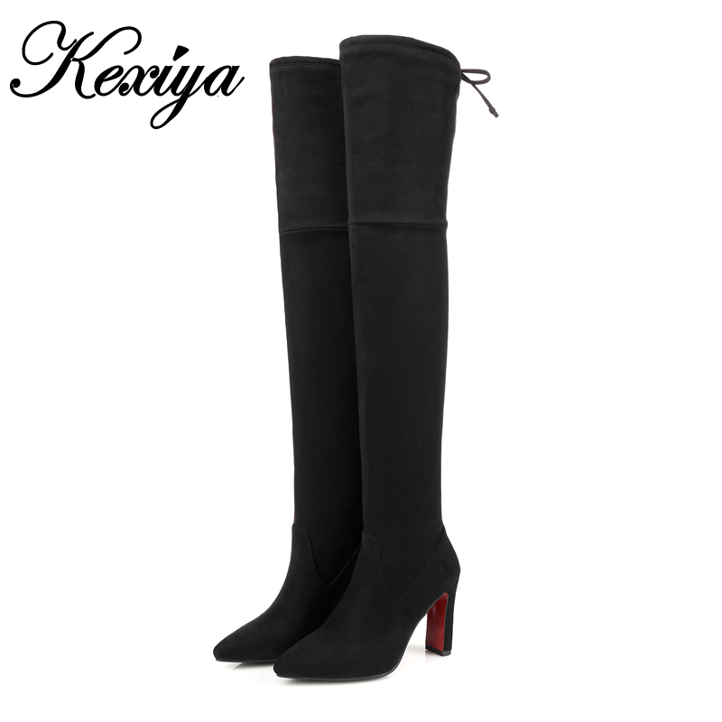 ФОТО Winter Women thigh high boots sexy Pointed Toe black suede high heels Big size 32-48 Slip-On Over-the-Knee boots botas tacticas
