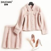 Shuchan Для женщин костюм с юбкой костюм Повседневное Однобортный Топы + длиной выше колена, Мини юбки 2018 зима Теплые комплекты одежды
