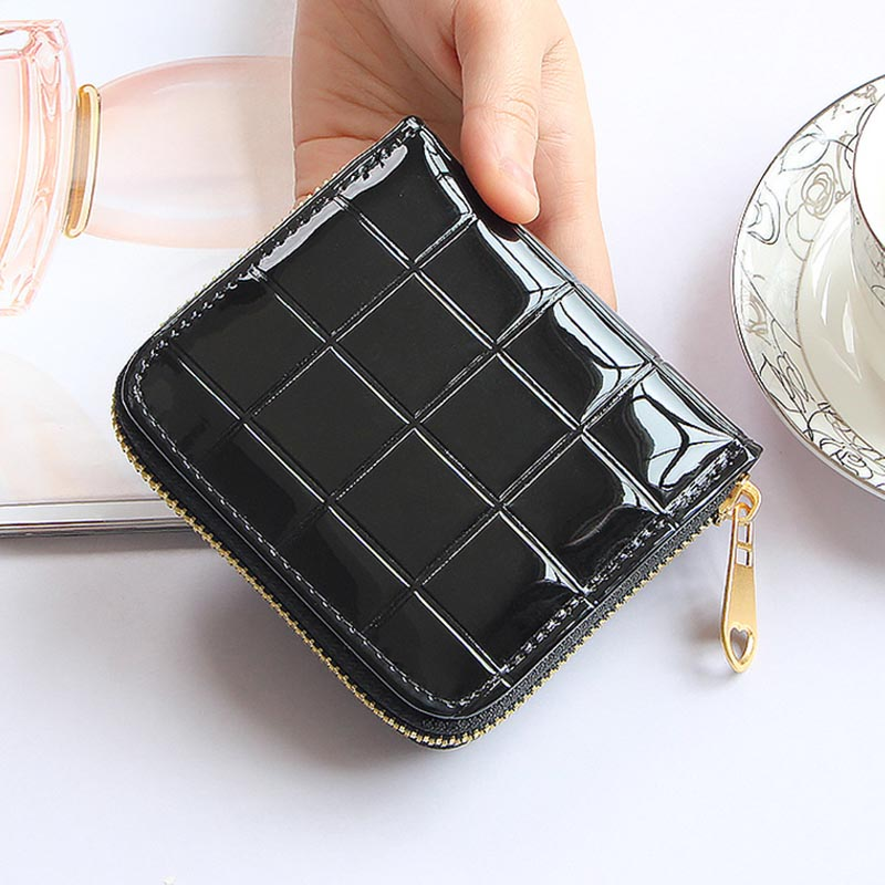 Patent Leather Women Short Wallets Ladies Small Plaid Wallet Zipper Coin Purse Female Credit Card Wallet Purses Money Bag 30 hot sale owl pattern wallet women zipper coin purse long wallets credit card holder money cash bag ladies purses