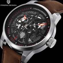 PAGANI DESIGN Mesh Perspective Dial Men's Classic Mechanical Watches Waterproof Leather Brand Luxury Watch Men Relogio Masculino