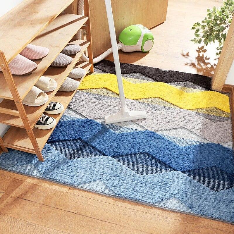 tapis de salle de bain au design geometrique absorbant l eau anti poussiere paillasson grand tapis de sol moderne pour toilettes decoration de