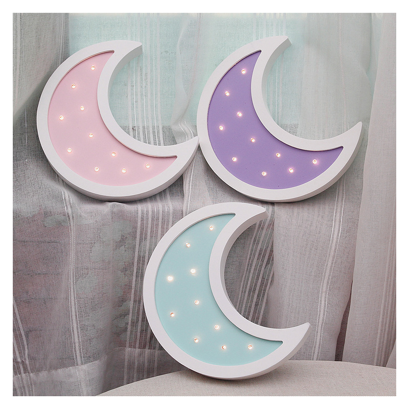 Europe Wooden Moon LED Night Light Ornament Kids Room Decor Accessories Moon Miniature Children Toys Furnishing Articles Gifts