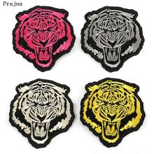 Prajna Punk Style Patches Tiger Head Lion Wolf Iron On Patch Color Mini Animal Embroidered badges For Man Jacket Rock Accessory(China)